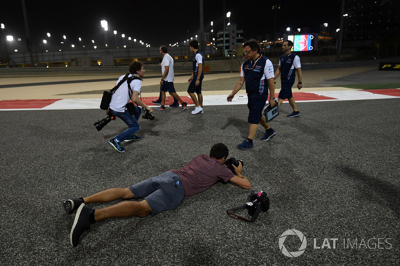 Photographers shoot Lance Stroll, Williams on his track walk