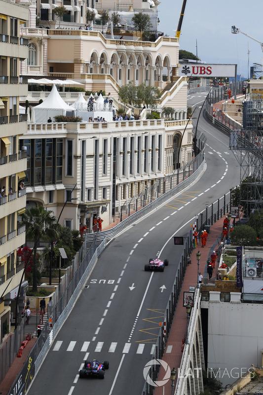 Sergio Perez, Force India VJM11, leads Pierre Gasly, Toro Rosso STR13