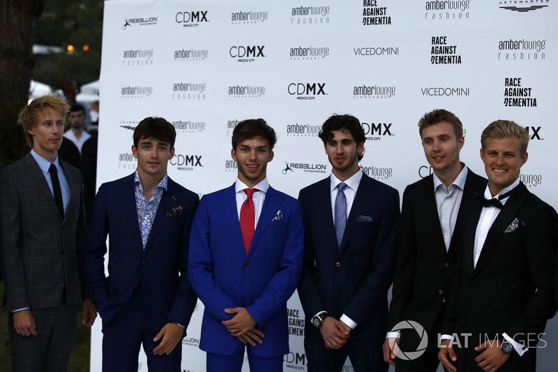 Brendon Hartley, Scuderia Toro Rosso, Charles Leclerc, Sauber, Pierre Gasly, Scuderia Toro Rosso, Antonio Giovinazzi, Ferrari, Sergey Sirotkin, Williams y Marcus Ericsson, Sauber