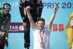 Allan McNish, Team Principal, Audi Sport Abt Schaeffler, celebrates winning the constructors trophy