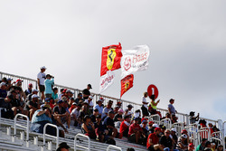 Haas F1 Team and Ferrari fans in the grandstand
