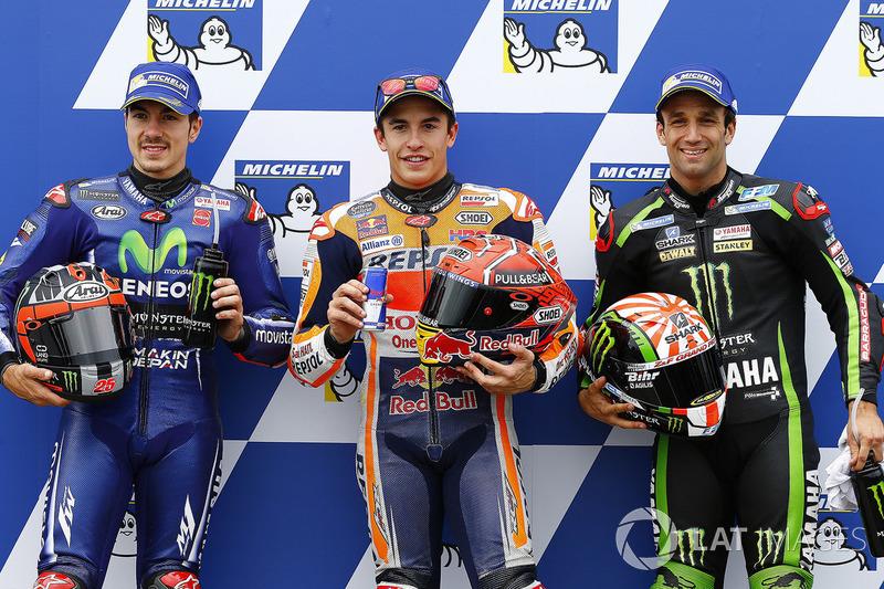 O pole Marc Márquez, Repsol Honda Team, o segundo Maverick Viñales, da Yamaha Factory Racing e o terceiro Johann Zarco, Monster Yamaha Tech 3
