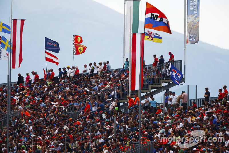 Fans and flags in a full grandstand