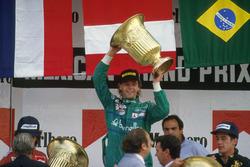 Podium: Race winner Gerhard Berger, Benetton