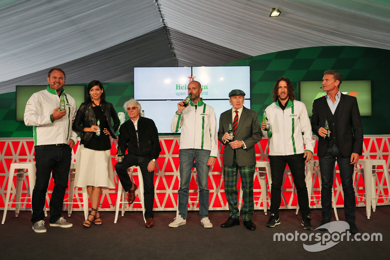 (L to R): Scott Quinnell, Former Rugby Player; Stephanie Sigman, Actress; Bernie Ecclestone, Heineken Global Head of Brand; Jackie Stewart, Former Football Player, at a Heineken sponsorship announcement