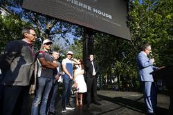 Pierre Houde, commentateur, Romain Grosjean, Haas F1 Team Lance Stroll, Williams. et Eric Boullier