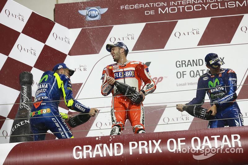 Podio: Maverick Viñales, Yamaha Factory Racing, Andrea Dovizioso, Ducati Team, Valentino Rossi, Yamaha Factory Racing