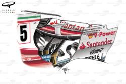 Alerón trasero del Ferrari SF70H en el GP de Bélgica