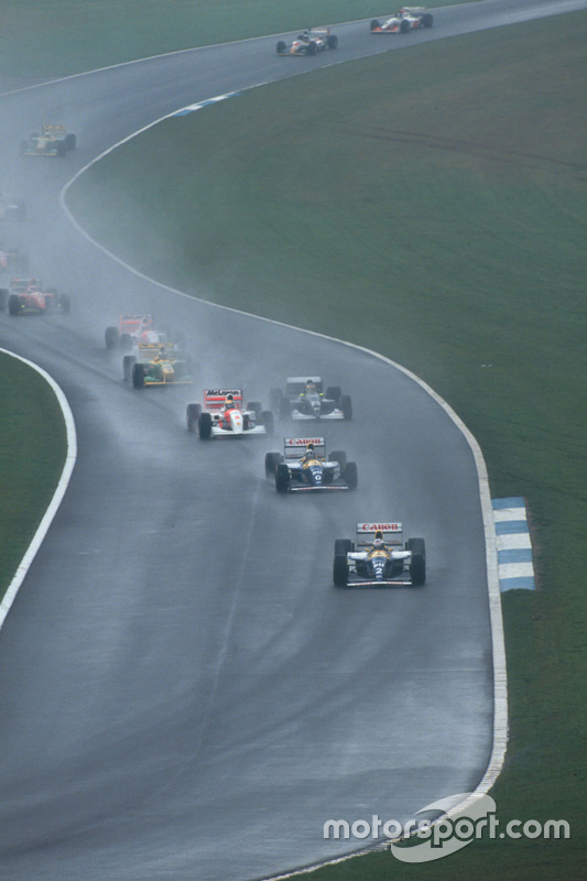 Alain Prost, Williams FW15C Renault leads Damon Hill, Williams FW15C Renault, Ayrton Senna, McLaren MP4/8 Ford