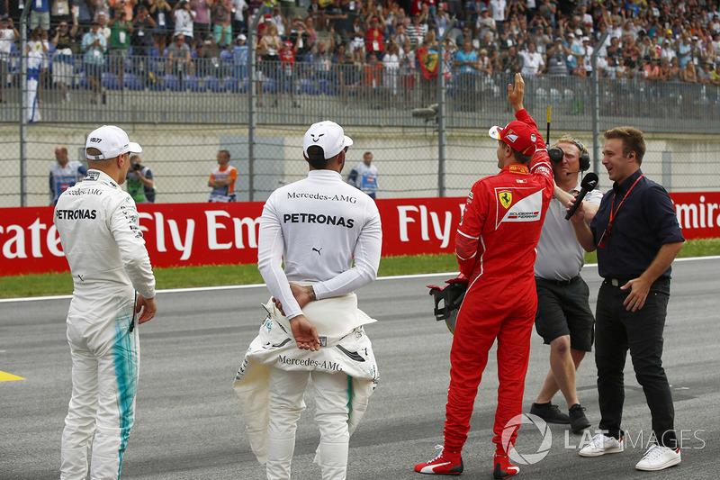 Володар поул-позиції Валттері Боттас, Mercedes AMG F1, друге місце Себастьян Феттель, Ferrari, третє місце Льюїс Хемілтон, Mercedes AMG F1