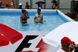Fans in a swimming pool