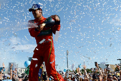 Lucas di Grassi, ABT Schaeffler Audi Sport, sprays the champagne on the podium