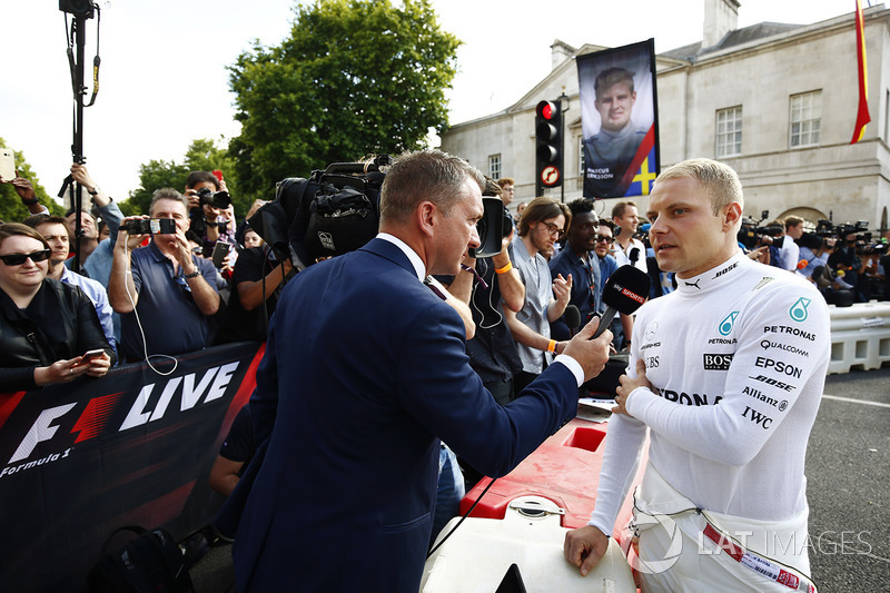 Valtteri Bottas, Mercedes AMG F1, is interviewed