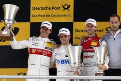 Podium: Race winner Lucas Auer, Mercedes-AMG Team HWA, Mercedes-AMG C63 DTM, second place Robert Wickens, Mercedes-AMG Team HWA, Mercedes-AMG C63 DTM, third place René Rast, Audi Sport Team Rosberg, Audi RS 5 DTM