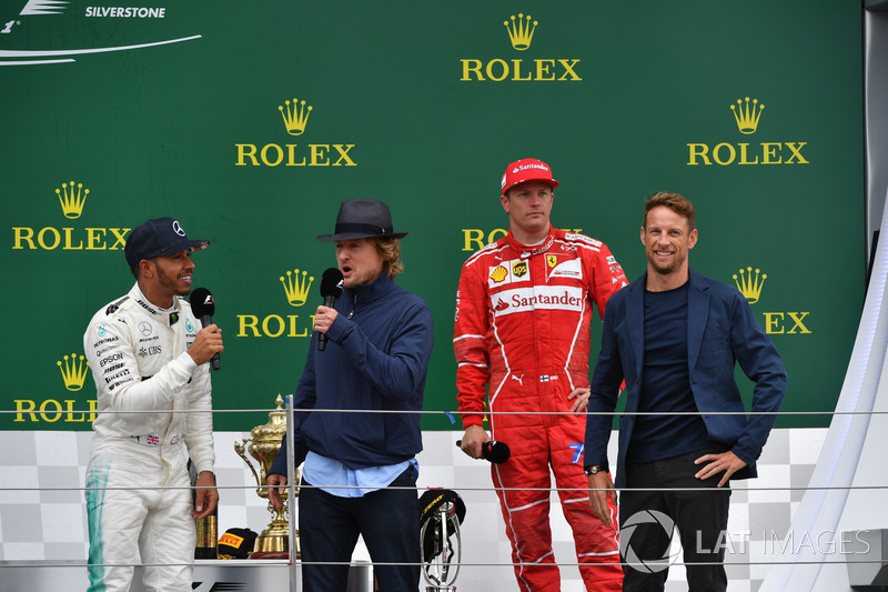 Lewis Hamilton, Mercedes AMG F1, Owen Wilson, Kimi Raikkonen, Ferrari and Jenson Button, McLaren on the podium