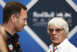 Christian Horner, Team Principal, Red Bull Racing, talks with Bernie Ecclestone, Chairman Emiritus of Formula 1