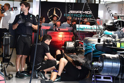 Mercedes-Benz F1 W08  is worked on in the garage