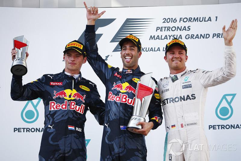 Race winner Daniel Ricciardo, Red Bull Racing, second place Max Verstappen, Red Bull Racing, third place Nico Rosberg, Mercedes AMG F1