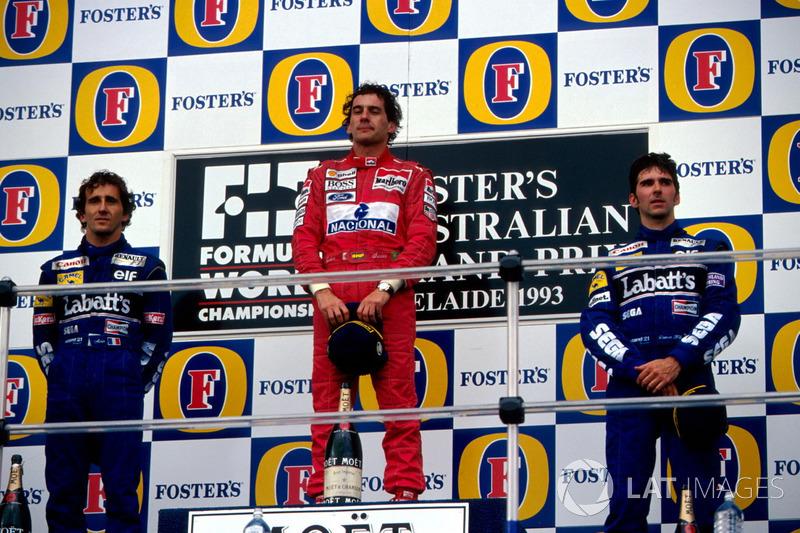 Podium : le second Alain Prost, Williams, le vainqueur ...