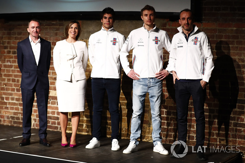 Paddy Lowe, Claire Williams, Lance Stroll, Sergey Sirotkin et Robert Kubica sur la scène au lancement de la FW41