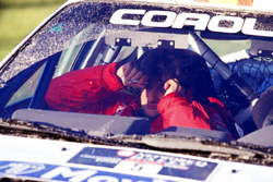 Luis Moya reacts after failing within yards of the finishing line in Margam Park losing Sainz and Moya the 1998 World Rally Championship