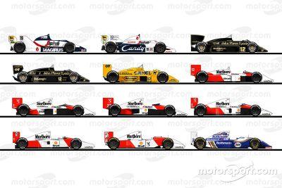 Les voitures de la carrière d'Ayrton Senna