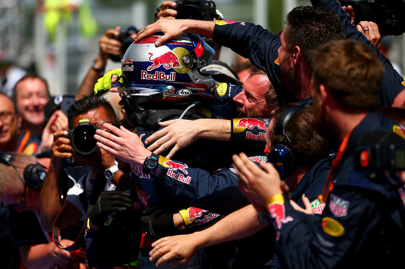 Max Verstappen, Red Bull Racing celebrates in parc ferme with the Red Bull Racing team after his fir