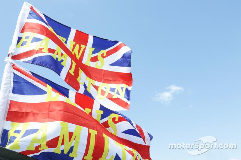 Flags for Lewis Hamilton, Mercedes AMG F1