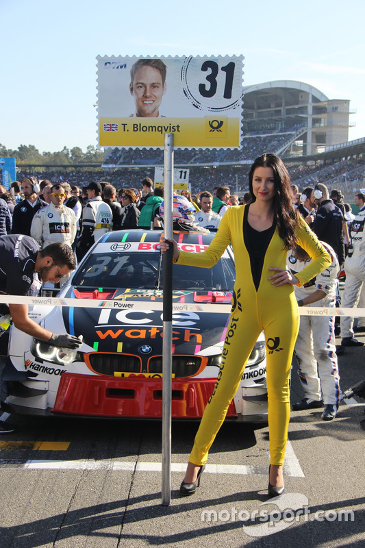 Grid girl of Tom Blomqvist, BMW Team RBM, BMW M4 DTM