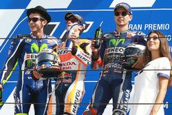 Second place Valentino Rossi, Yamaha Factory Racing, Dani Pedrosa, Repsol Honda Team, Jorge Lorenzo, Yamaha Factory Racing