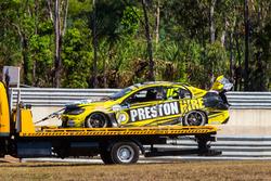 The crashed car of Lee Holdsworth, Team 18 Holden