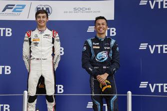 Podium: race winner George Russell, ART Grand Prix, third place Alexander Albon, DAMS