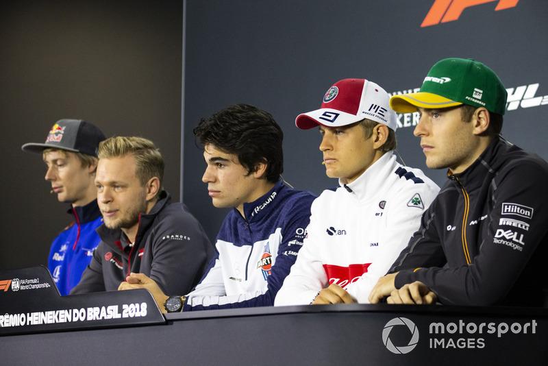 Brendon Hartley, Scuderia Toro Rosso, Kevin Magnussen, Haas F1 Team, Lance Stroll, Williams Racing, Marcus Ericsson, Sauber e Stoffel Vandoorne, McLaren, in conferenza stampa