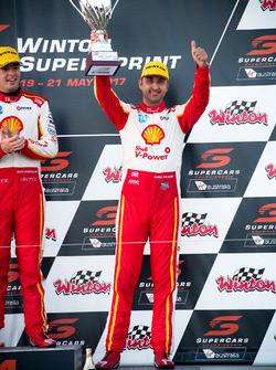 Podium: race winner Scott McLaughlin, Team Penske Ford, third place Fabian Coulthard, Team Penske Ford