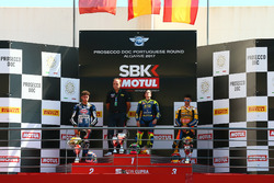Podium: Race winner Ana Carrasco, Kawasaki, second place Alfonso Coppola, Yamaha, third place Marc Garcia, Yamaha