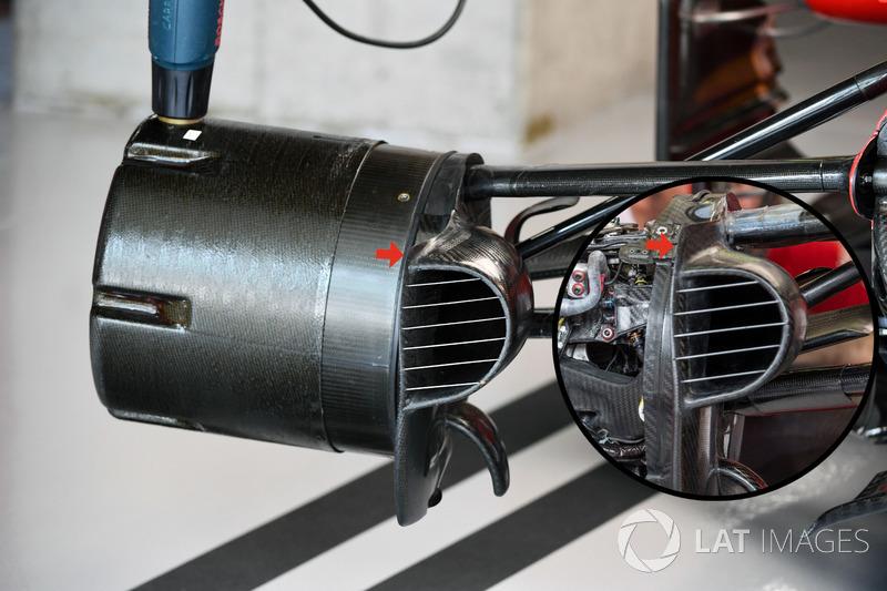 Écope de frein avant et moyeu de la Ferrari SF70-H