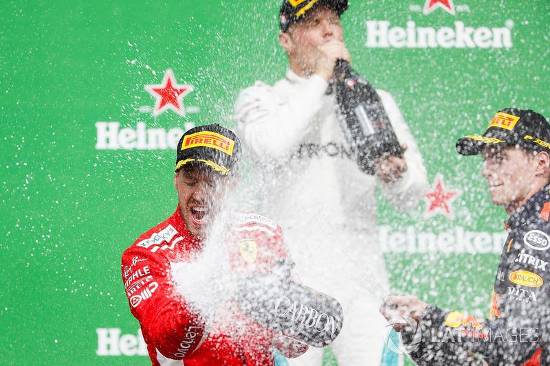 Sebastian Vettel, Ferrari, 1st position, Max Verstappen, Red Bull Racing, 2nd position, and Max Vers