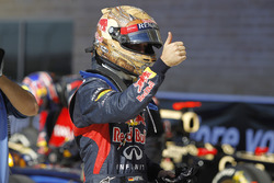 Pole man Sebastian Vettel, Red Bull Racing, celebrates in Parc Ferme