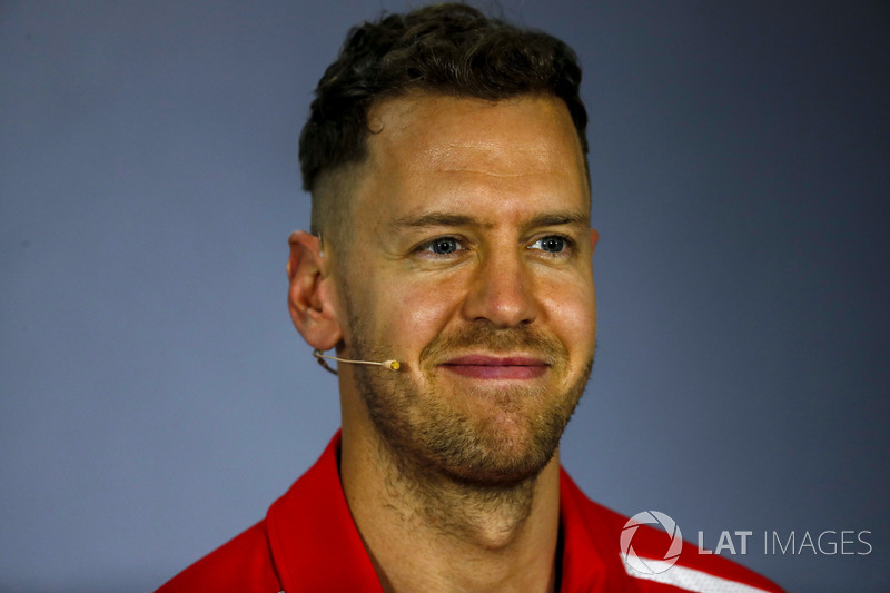 Sebastian Vettel, Ferrari, in the Thursday drivers Press Conference