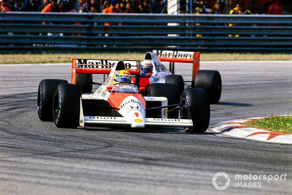 Ayrton Senna, McLaren MP4-5 Honda, Alain Prost, McLaren MP4-5 Honda