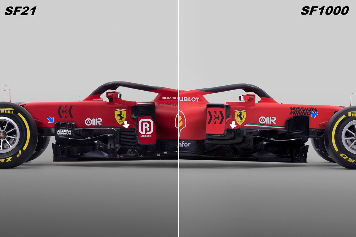 Ferrari SF21 & SF1000 bargeboard comparison