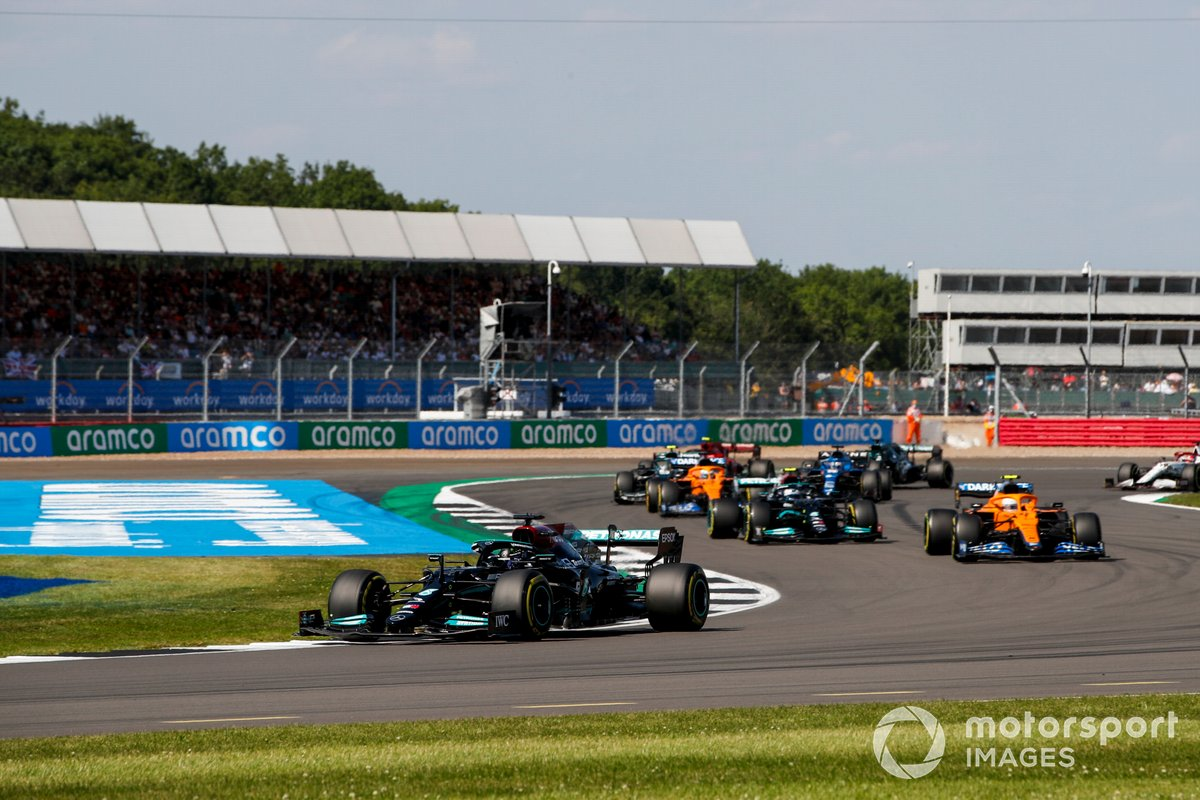 Lewis Hamilton, Mercedes W12, Lando Norris, McLaren MCL35M, Valtteri Bottas, Mercedes W12, and Daniel Ricciardo, McLaren MCL35M