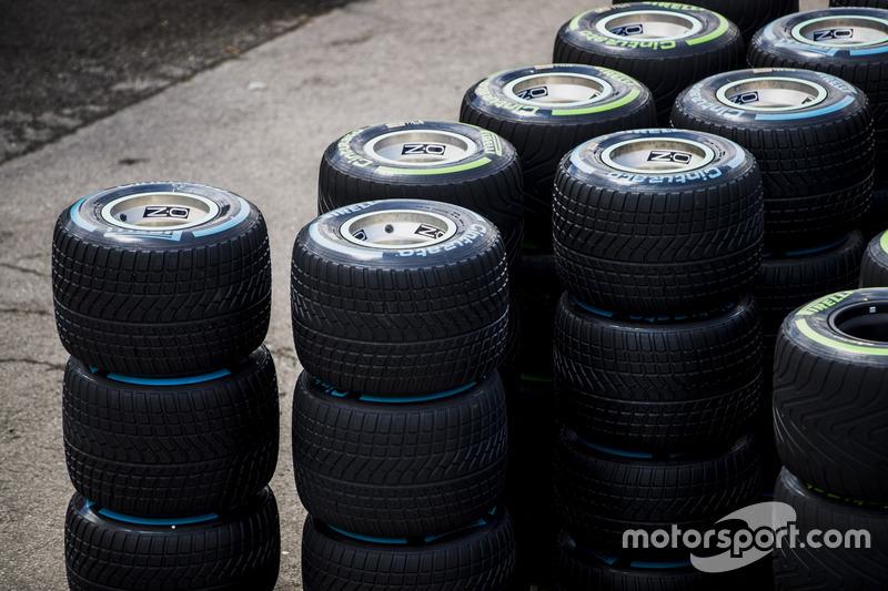 Stacks of wet weather Pirelli tyres