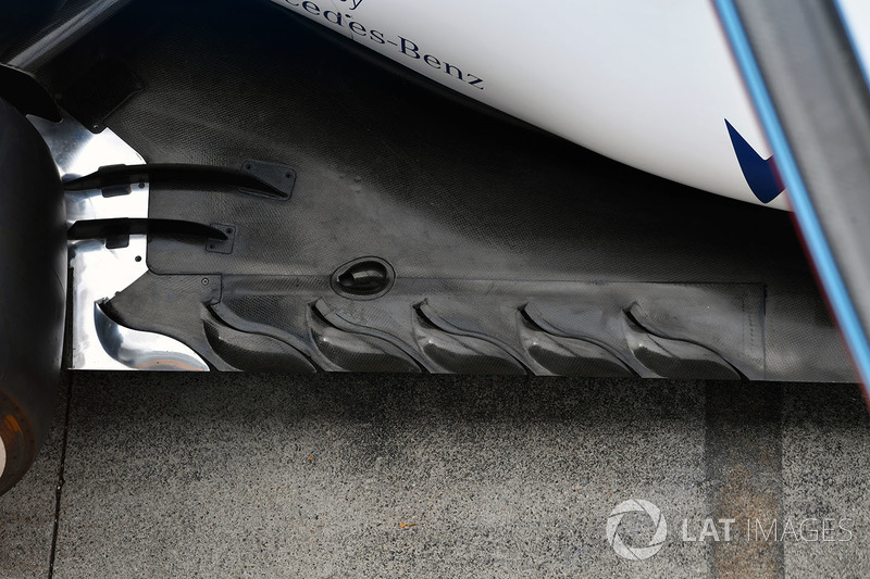Rear floor technical aero detail of the Williams FW40
