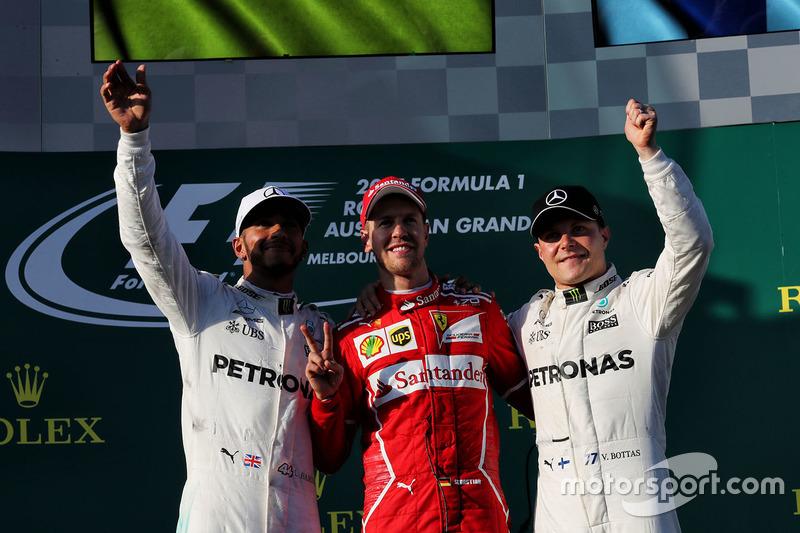 Podium: ganador, Sebastian Vettel, Ferrari, segundo, Lewis Hamilton, Mercedes AMG F1, tercero, Valtteri Bottas, Mercedes AMG F1