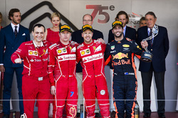 Riccardo Adami, Race Engineer, Ferrari, Second place Kimi Raikkonen, Ferrari, Race winner Third place Sebastian Vettel, Ferrari Daniel Ricciardo, Red Bull Racing, on the podium