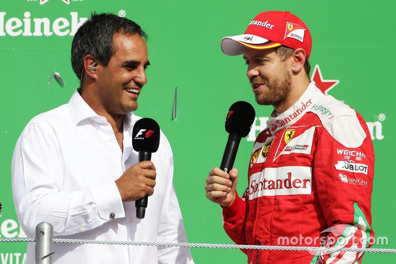 Podium: 3. Sebastian Vettel, Ferrari, mit Juan Pablo Montoya