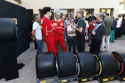 Roberto Boccafogli, Pirelli Head of F1 Communications, Maurizio Arrivabene, Team Principal, Ferrari, the new 2018 tyres