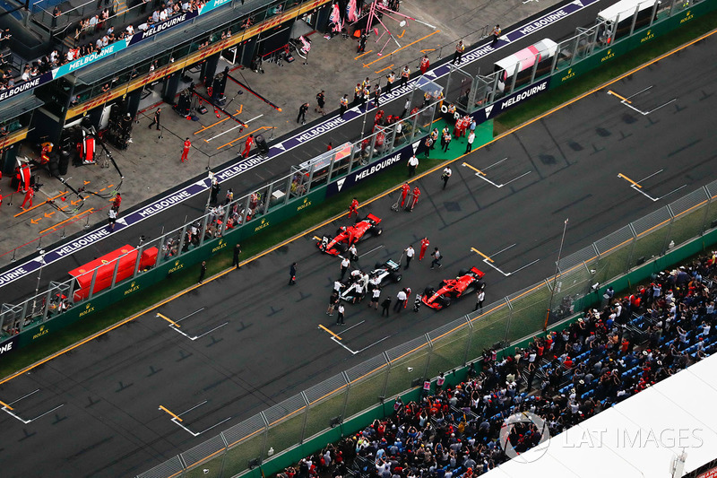 Parc Ferme on the grid after qualifying after Lewis Hamilton, Mercedes AMG F1 W09, takes pole positi