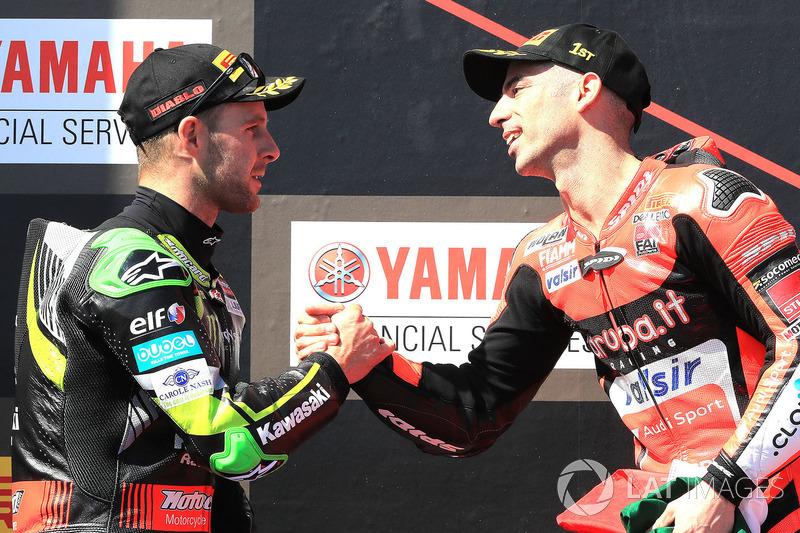 Podium: pemenang balapan Marco Melandri, Aruba.it Racing-Ducati SBK Team dan  Jonathan Rea, Kawasaki Racing
